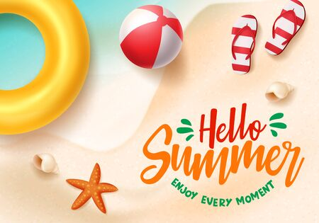Hello summer vector banner. Hello summer text in beach seaside background design with beach elements like beach ball, floater, flipflop and starfish for holiday season. Vector illustration.