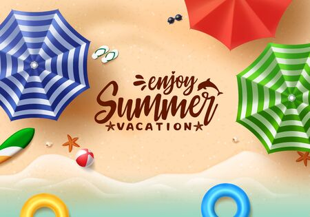 Summer text vector banner design. Summer vacation typography with colorful beach elements like umbrella, floating floaters and beach ball in beach seaside background. Vector illustration.