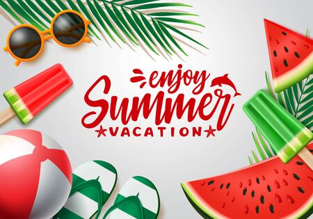 Summer vector banner design. Summer vacation text with beach elements and tropical fruits like watermelon in white background for holiday season. Vector illustration.