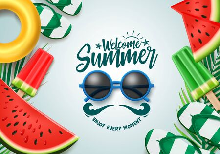 Summer vector banner design. Welcome summer text with sunglasses, tropical fruits and beach elements for holiday season. Vector illustration.
