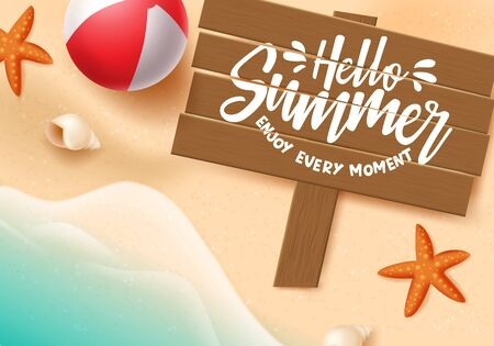 Hello summer vector banner. Hello summer typography in wood space for text with beach elements like beach ball, starfish and sea shells in beach seaside background. Vector illustration.