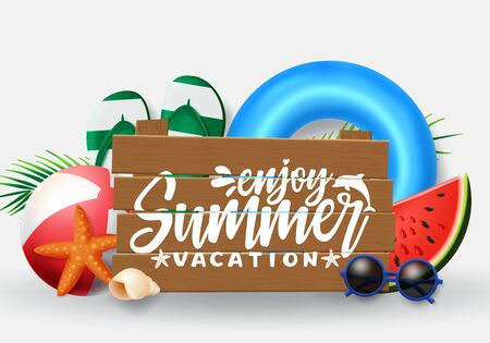 Summer vector banner design. Summer vacation typography in wood space for text with beach elements like floaters, beach ball, flipflop and sunglasses in white background. Vector illustration.