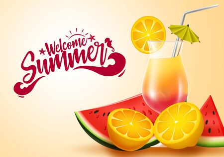 Summer fruit vector banner design. Welcome summer greeting text with tropical fruits like watermelon and fresh lemon juice elements in yellow background for holiday season. Vector illustration.
