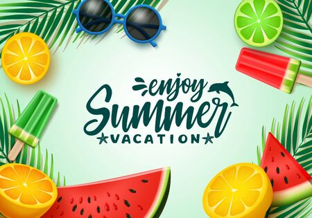 Summer text vector background template. Summer vacation typography with tropical elements like watermelon, lemon and palm leaves in green background. Vector illustration.
