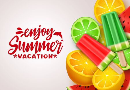 Summer vector banner design. Summer vacation text with tropical fruits like watermelon, lemon for refreshing summer season in white background. Vector illustration.