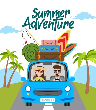 Summer adventure vector concept design. Summer adventure text with travel characters in car driving and beach element like fishing rod, surf board, and luggage travelling for summer vacation. Vector illustration.  イラスト・ベクター素材