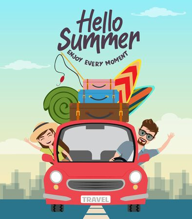 Summer travel vector concept design. Hello summer text with traveler character in car with beach element like surf board, luggage and fishing rod for holiday vacation. Vector illustration.