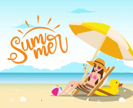 Summer vector concept design. Summer text with sexy female character relaxing and drinking fresh juice in chair with umbrella, beach ball and duck floater elements in beach seaside background. Vector illustration.