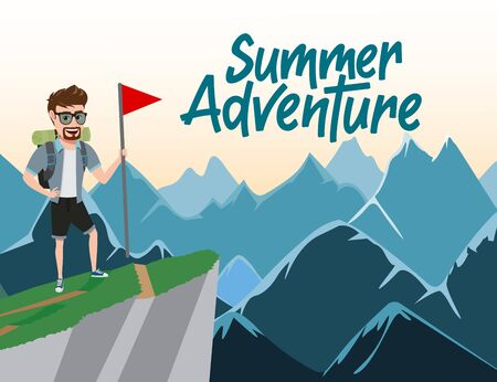 Summer adventure vector concept design. Summer adventure text with male climber character standing and holding flag in top of mountain background. Vector illustration.