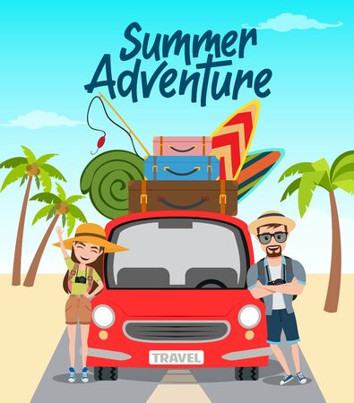 Summer adventure vector concept design. Summer adventure text with travel characters standing in car with beach element like surf board, fishing rod and luggage for vacation season. Vector illustration.
