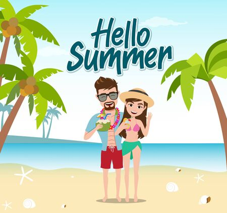 Hello summer vector concept design. Hello summer text with tourist couple characters standing while drinking fresh juice and enjoying vacation in beach background. Vector illustration.