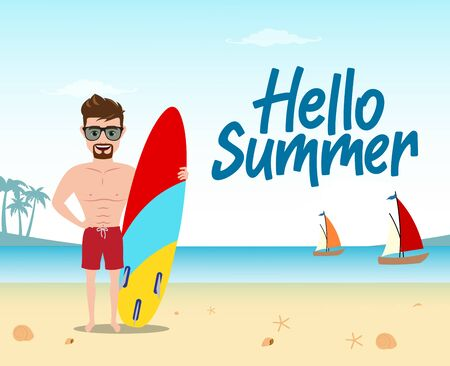 Hello summer vector concept design. Hello summer text with man character standing while holding surfboard and enjoying holiday vacation in beach seaside background. Vector illustration.