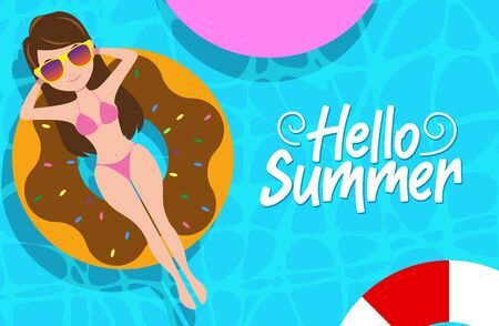 Hello summer vector concept design. Hello summer  text with sexy female character wearing bikini outfit floating in water with donuts floater elements in swimming pool background design. Vector illustration.  イラスト・ベクター素材