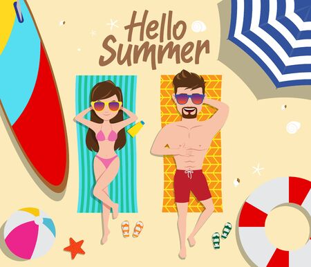 Summer couple vector concept design. Hello summer text with female and male characters sun bathing with beach element of surf board, beach ball, lifebuoy and umbrella in sand background. Vector illustration.