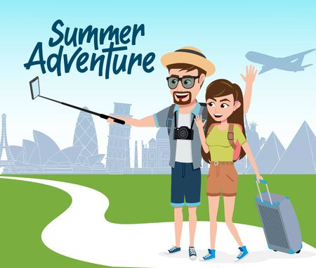 Summer travel adventure vector concept design. Summer adventure text with tourist characters taking phone picture and travelling in different country in holiday vacation. Vector illustration.  イラスト・ベクター素材