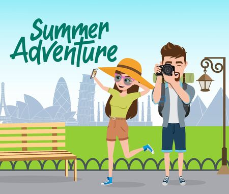 Summer adventure vector concept design. Summer adventure text with couple tourist traveler character taking phone and camera pictures in park background. Vector illustration.  イラスト・ベクター素材