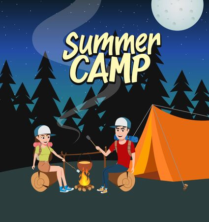 Summer camp vector concept design. Summer camp text with couple hiker characters in hiking activity like cooking in night forest background. Vector illustration.