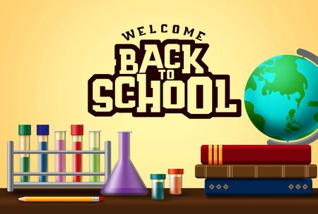 Welcome back to school text in yellow  with laboratory elements and school supplies  イラスト・ベクター素材