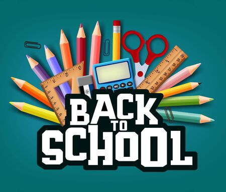 Back to school text with realistic school elements and education items