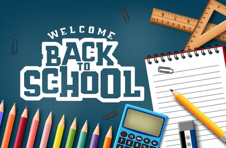 Welcome back to school text in blue  with school supplies and education elements.