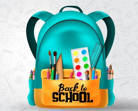 Back to school text in school bag element and education items  イラスト・ベクター素材