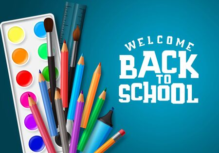 Welcome back to school vector banner design.  イラスト・ベクター素材