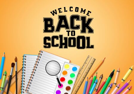Back to school vector banner design. Welcome back to school typography in yellow space  イラスト・ベクター素材