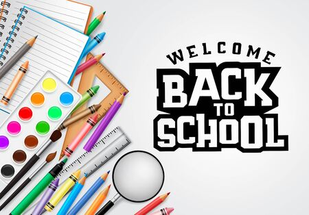 Back to school vector concept banner design. Welcome back to school greeting text in white  with education elements and school items