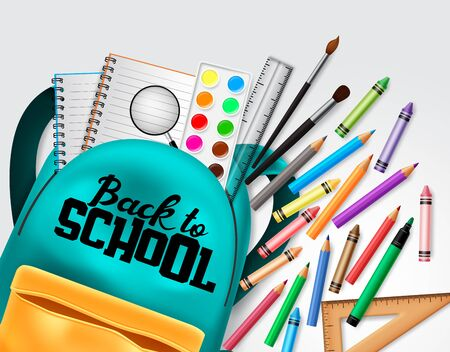 Back to school vector concept design. Back to school text with colorful school elements and education items