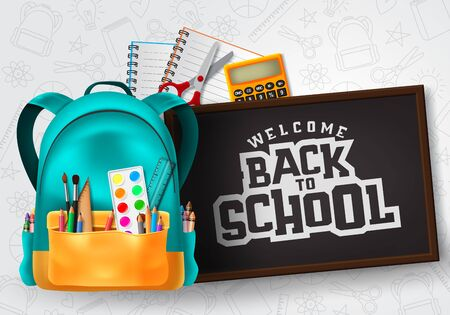 Welcome back to school typography in chalkboard space for text with school supplies and education elements  イラスト・ベクター素材