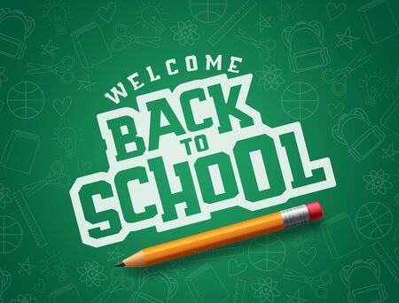 Welcome back to school typography in green patterned chalkboard space for text with pencil school element.