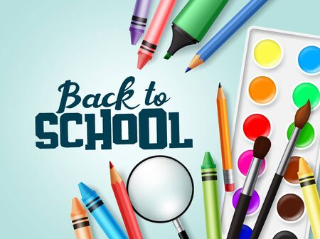 Back to school text with colorful school elements and education items  イラスト・ベクター素材