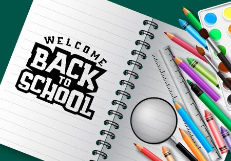 Welcome back to school typography in blank paper space for text with school supplies and education elements