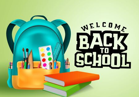 Welcome back to school typography in blank space for text with colorful school supplies and education elements  イラスト・ベクター素材