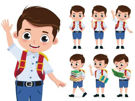 School kid vector character set. Back to school boy student characters wearing uniform while happy waving and reading book isolated in white background. Vector illustration.