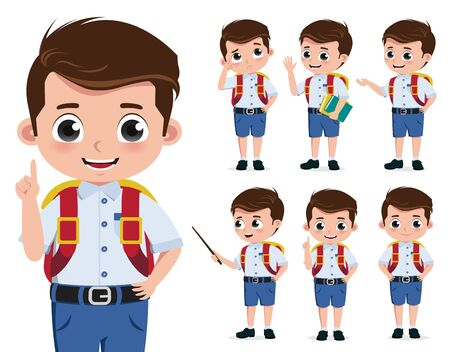 School boy vector character set. Back to school kid student characters in standing pose while talking, reporting and thinking isolated in white background. Vector illustration.