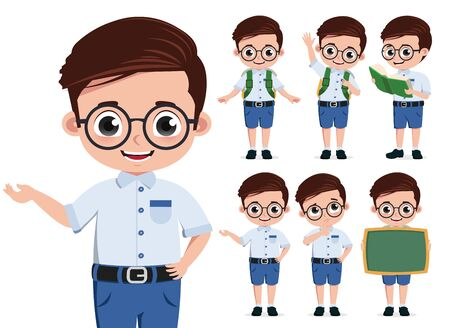 School student character vector set. Student character or school boy in standing pose and doing educational activities like presenting and reading  book isolated in white background. Vector illustration.