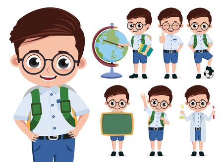 School kid student vector character set. Back to school cute boy student characters wearing eyeglasses and uniform doing educational activities isolated in white background. Vector illustration.  イラスト・ベクター素材