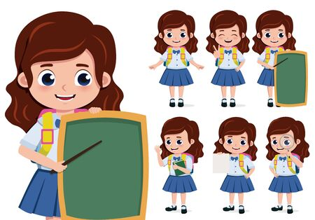 School girl character vector set. Back to school girl student characters in presentation educational activity with chalkboard and pointer elements isolated in white background. Vector illustration.