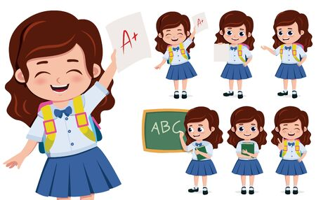 School girl student character vector set. School girl student characters in happy face holding paper with high grade and writing in chalkboard  for education related design. Vector illustration.