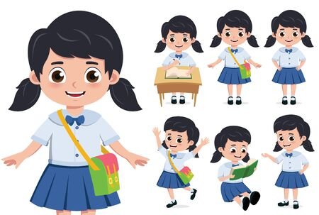 School girl student character vector set. Student girl for back to school elementary characters doing educational activity like reading book and writing in desk isolated in white background. Vector illustration.