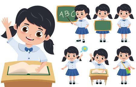 School girl student character vector set. Back to school elementary kid characters sitting in desk, wearing school uniform isolated in white background. Vector illustration.