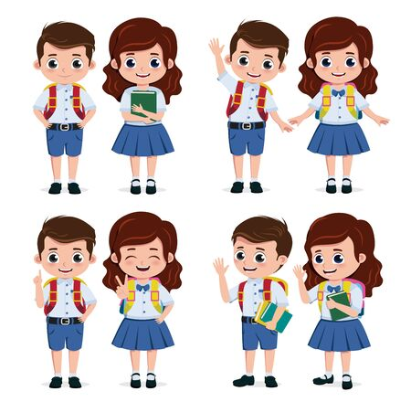 School students characters set. Student kids classmates character for back to school in standing pose and wearing elementary uniform isolated in white background. Vector illustration.