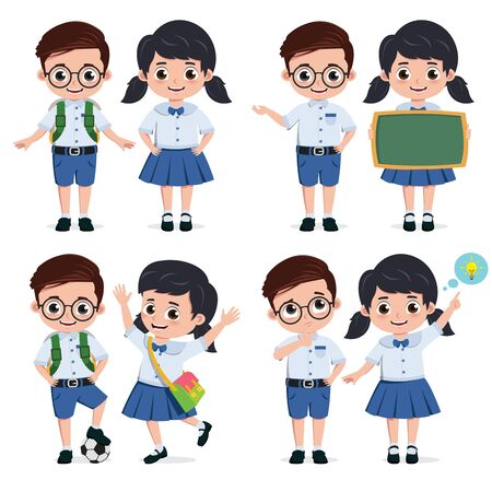 School students vector characters set. Back to school classmates elementary student characters in education activities like presenting and playing. Vector illustration.