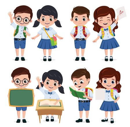 School classmate students character vector set. Back to school classmates kids elementary characters wearing uniform doing educational actives isolated in white background. Vector illustration.