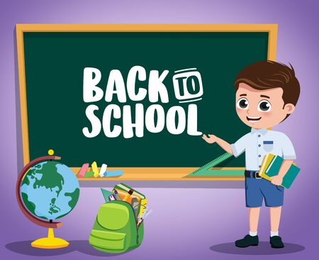 Back to school kid vector character design. Back to school text in chalkboard with boy pre-school, student character and educational elements in violet background. Vector illustration.  イラスト・ベクター素材