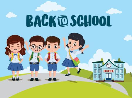 Back to school classmates vector design. Back to school text and campus with pre-school, student characters going home after class. Vector illustration.  イラスト・ベクター素材