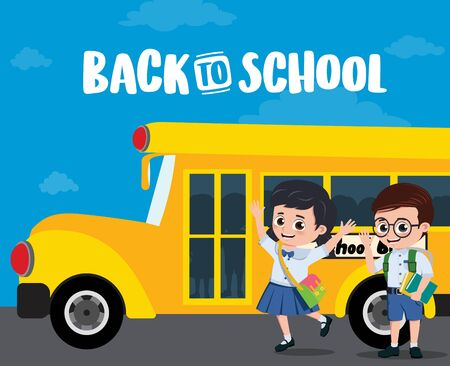 School bus and students design. Back to school text with elementary student characters waving and boarding on a school bus. illustration.