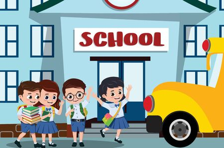 School kids in campus design. pre-school, student kids characters happy boarding on a school bus after class in school campus background. illustration.