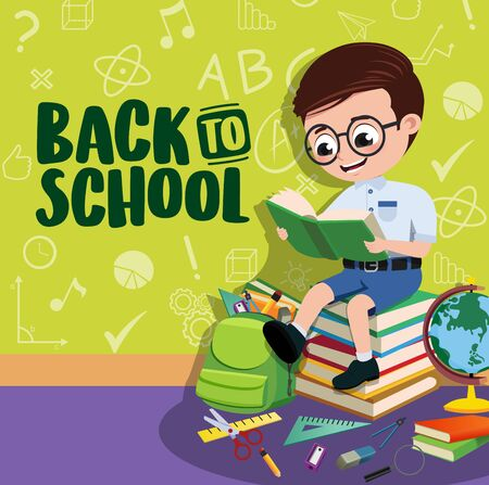 Back to school boy student banner. Back to school text with space and smart pre-school, boy student character reading a book with educational elements in green pattern background. illustration.